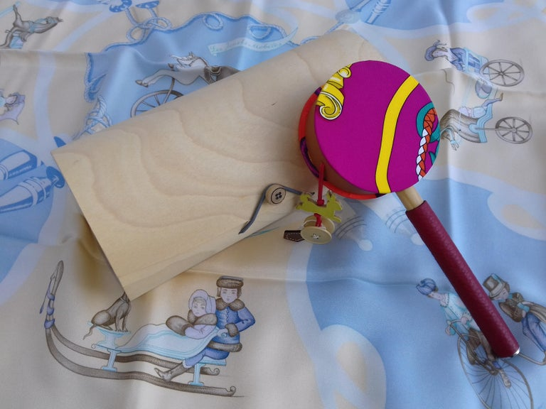 Hermès Petit H Tambourine Rattle Toy Silk Leather Wood in Box For Sale 5