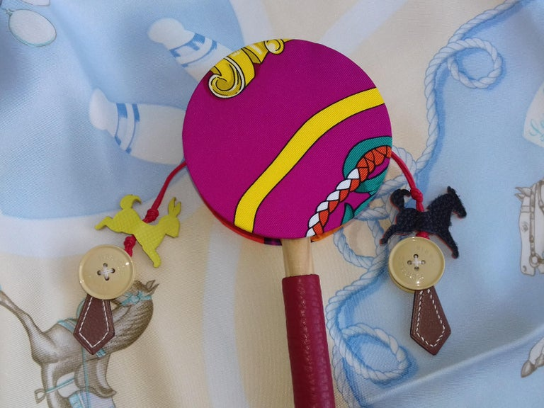 Hermès Petit H Tambourine Rattle Toy Silk Leather Wood in Box For Sale 10