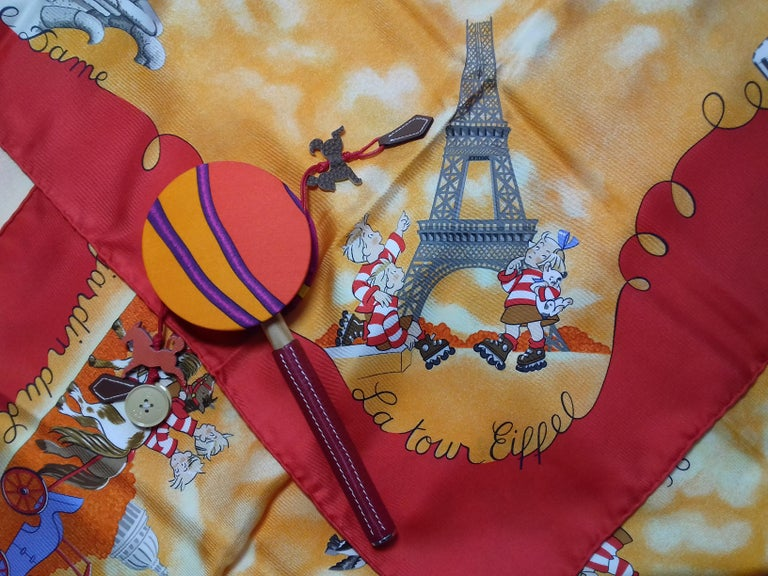 Hermès Petit H Tambourine Rattle Toy Silk Leather Wood in Box For Sale 11