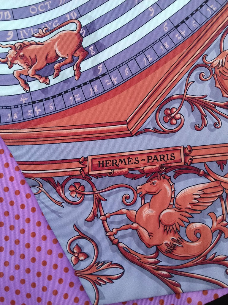 Hermès Silk Scarf Maxi Twilly Cut Astrologie Pois (Dies et Hore) Parma In Box In New Condition For Sale In ., FR