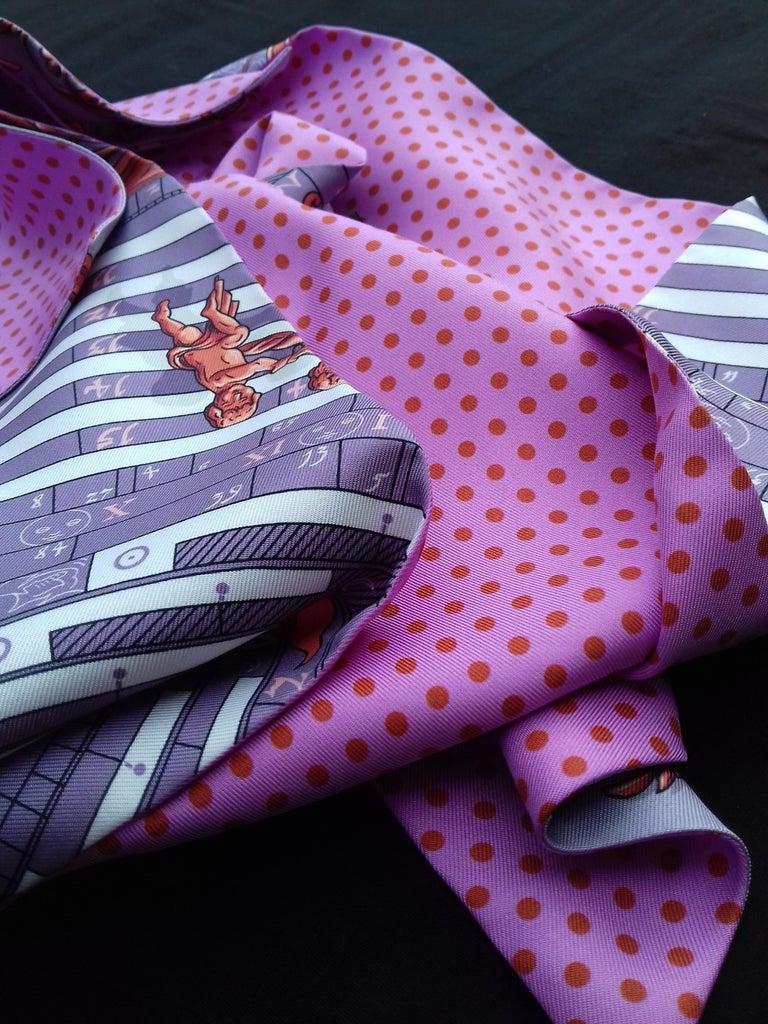 Hermès Silk Scarf Maxi Twilly Cut Astrologie Pois (Dies et Hore) Parma In Box For Sale 9