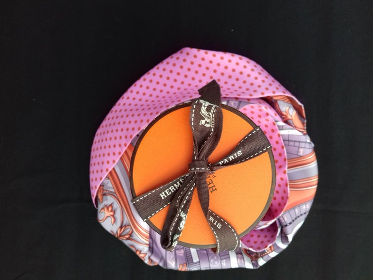 Hermès Silk Scarf Maxi Twilly Cut Astrologie Pois (Dies et Hore) Parma In Box For Sale 13