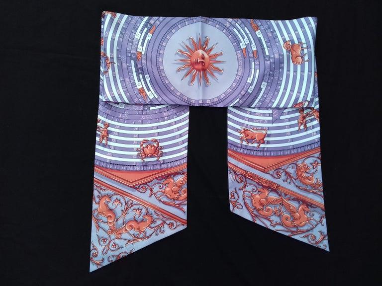 Hermès Silk Scarf Maxi Twilly Cut Astrologie Pois (Dies et Hore) Parma In Box For Sale 11