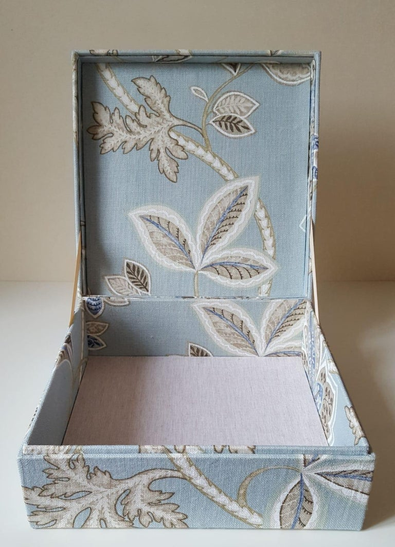 Leaves Pattern Fabric Decorative Storage Box for Scarves  For Sale 1