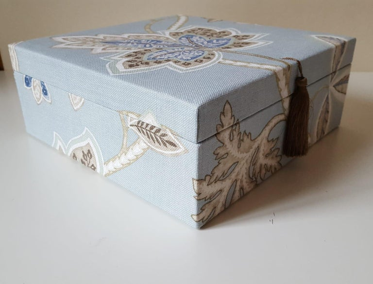 Leaves Pattern Fabric Decorative Storage Box for Scarves  For Sale 2