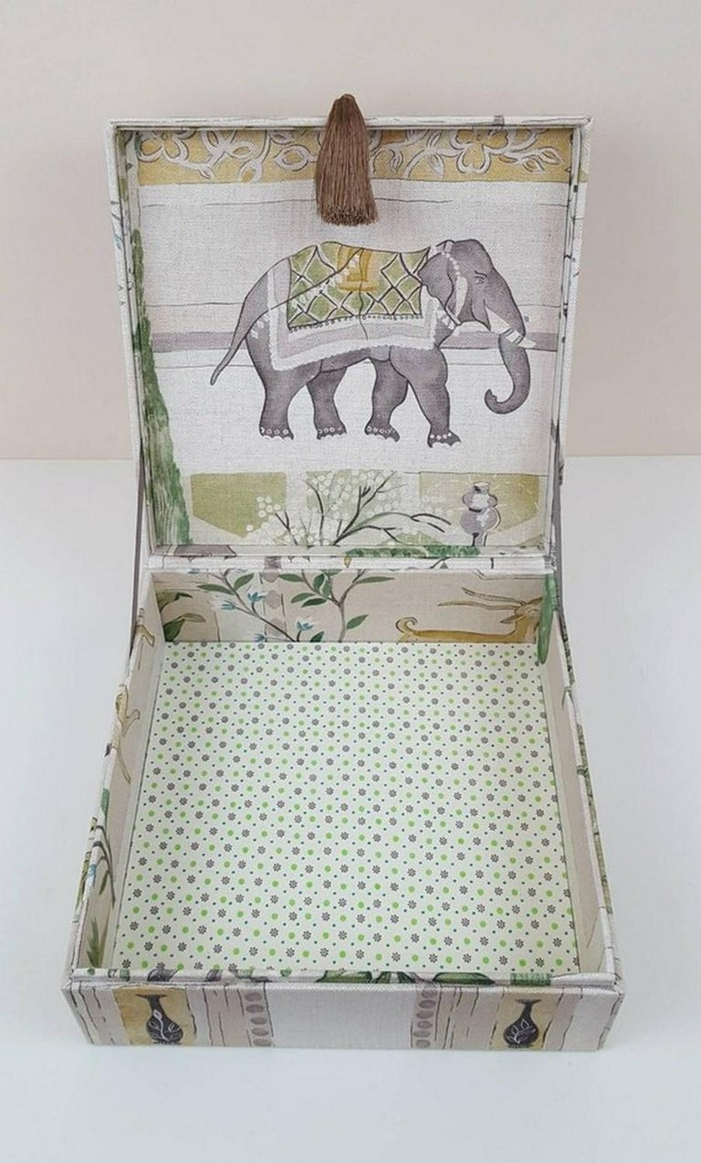 Gray Sultans Garden Sanderson Fabric Decorative Storage Box for Scarves  For Sale