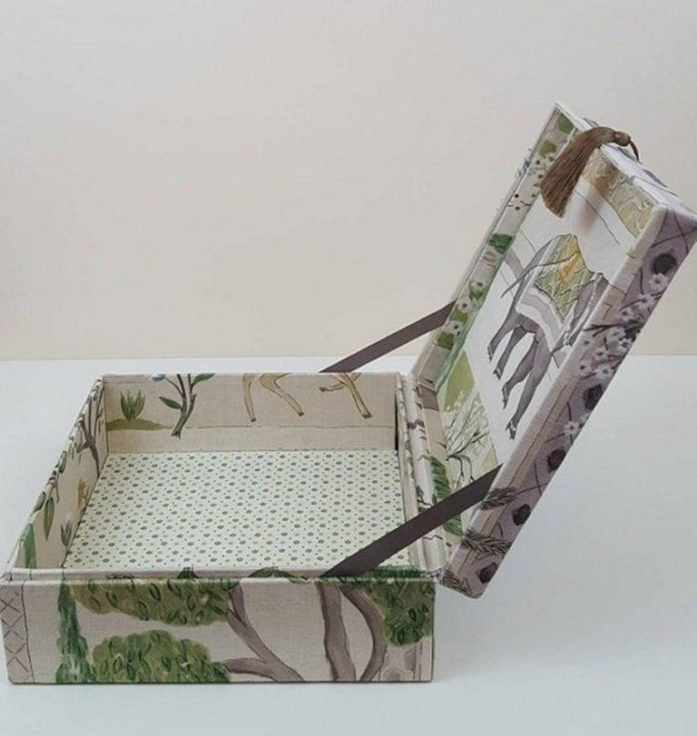 Women's or Men's Sultans Garden Sanderson Fabric Decorative Storage Box for Scarves  For Sale