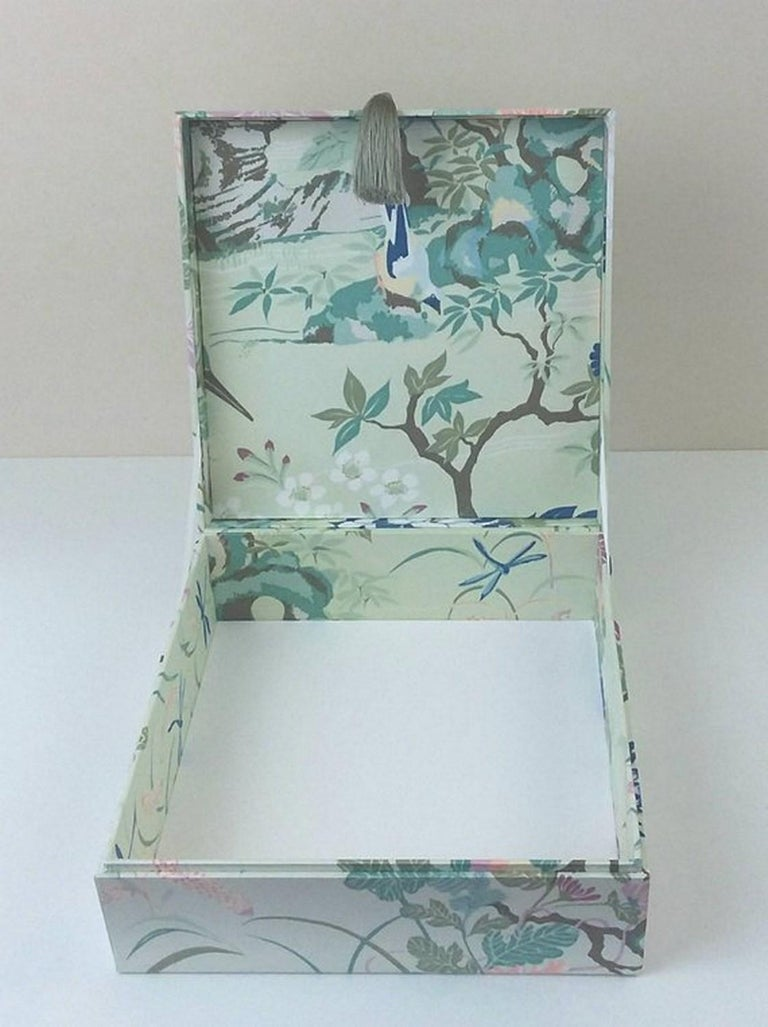 Gray Birds Pattern Fabric Decorative Storage Box for Scarves  For Sale