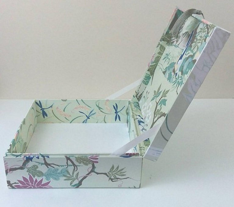 Women's or Men's Birds Pattern Fabric Decorative Storage Box for Scarves  For Sale