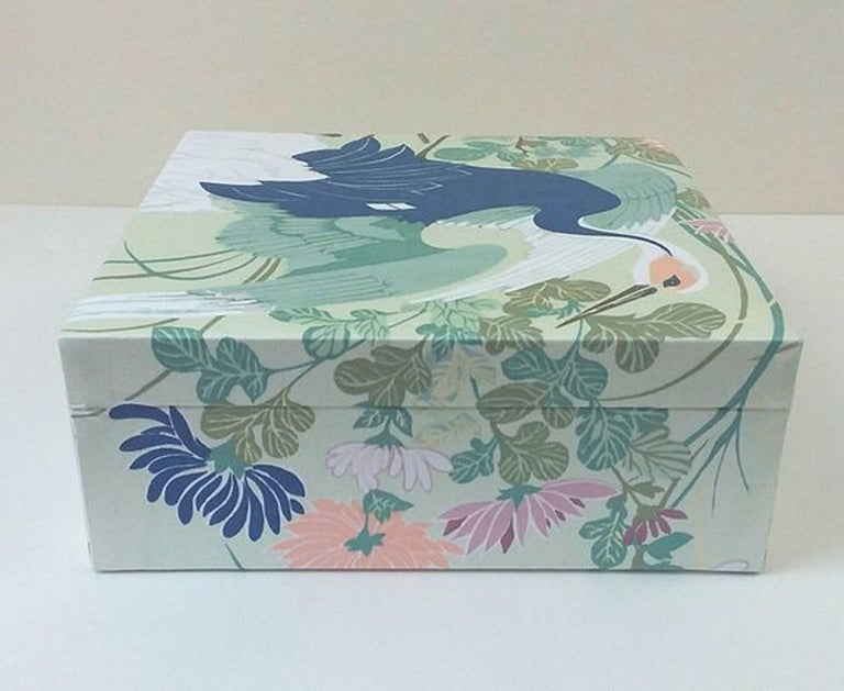 Birds Pattern Fabric Decorative Storage Box for Scarves  For Sale 1