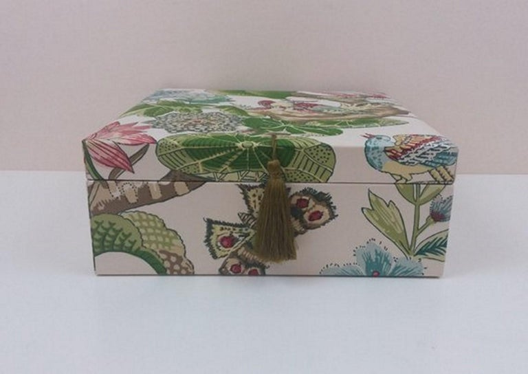 Gray Cranley Garden Greeff Fabric Decorative Storage Box for Scarves  For Sale
