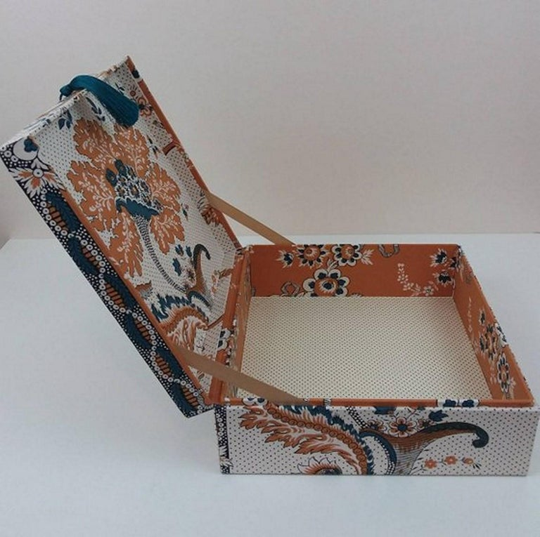 Gray Amboise Pierre Frey Fabric Decorative Storage Box for Scarves Handmade in France For Sale