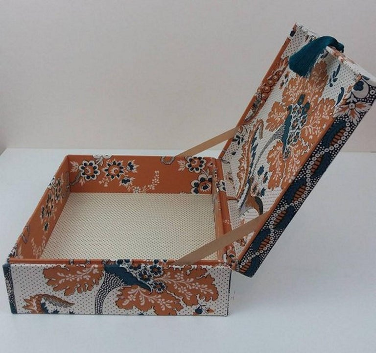Amboise Pierre Frey Fabric Decorative Storage Box for Scarves Handmade in France In New Condition For Sale In ., FR