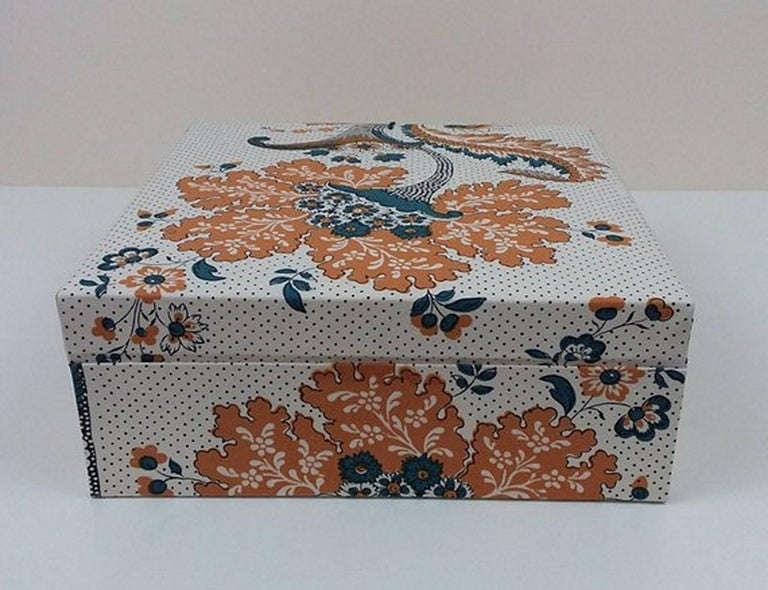 Women's or Men's Amboise Pierre Frey Fabric Decorative Storage Box for Scarves Handmade in France For Sale