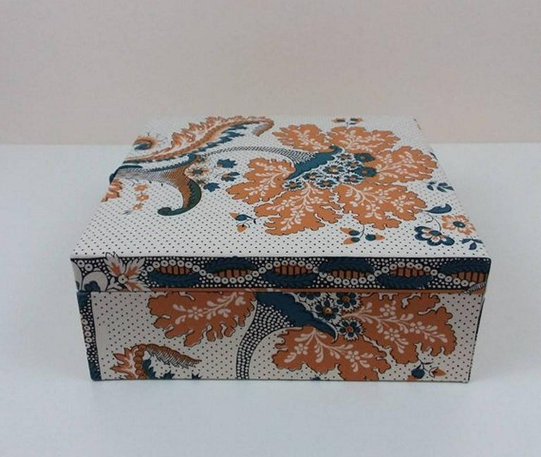 Amboise Pierre Frey Fabric Decorative Storage Box for Scarves Handmade in France For Sale 1
