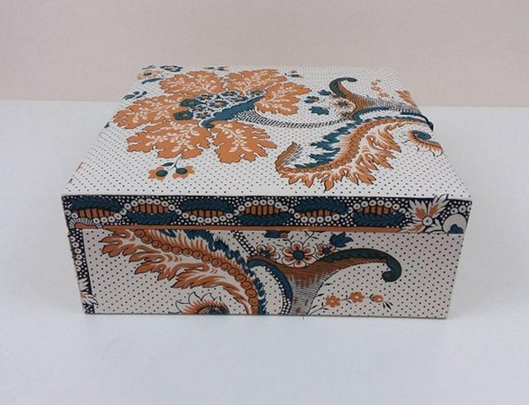 Amboise Pierre Frey Fabric Decorative Storage Box for Scarves Handmade in France For Sale 2