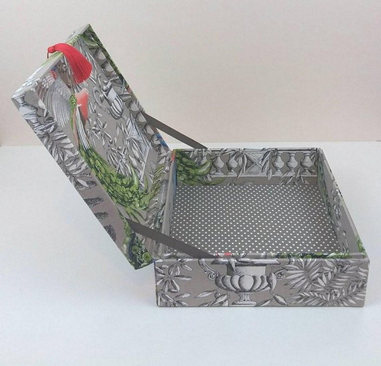Birds Printed Fabric Decorative Storage Box for Scarves Handmade in France In New Condition For Sale In ., FR