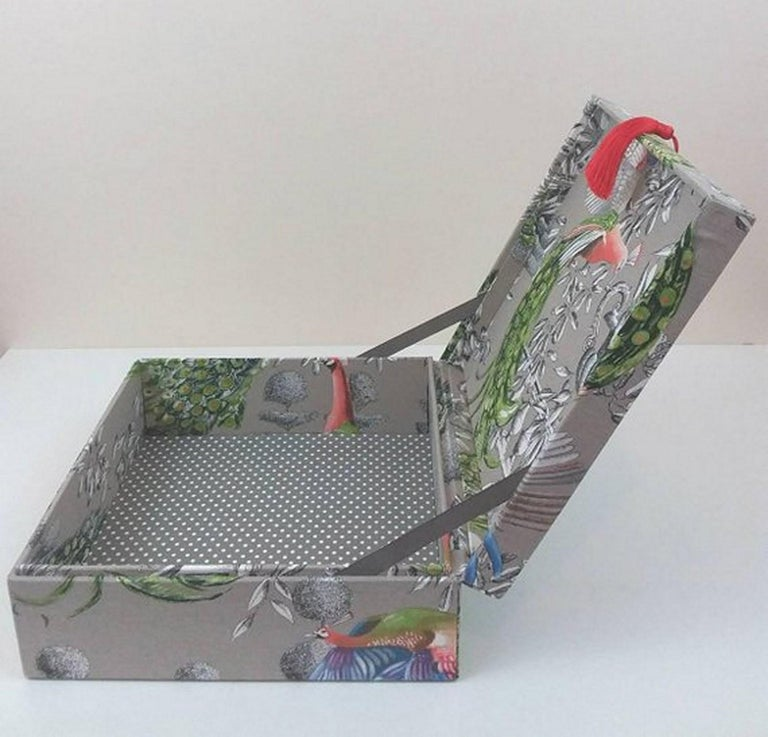 Women's or Men's Birds Printed Fabric Decorative Storage Box for Scarves Handmade in France For Sale