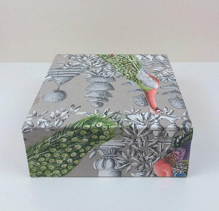 Birds Printed Fabric Decorative Storage Box for Scarves Handmade in France For Sale 1