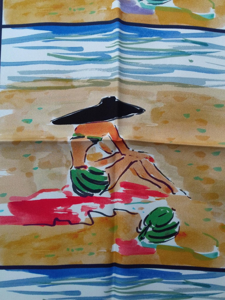 Hermès Silk Scarf Bain de Mer Jean Louis Clerc 2016 68 cm For Sale 1