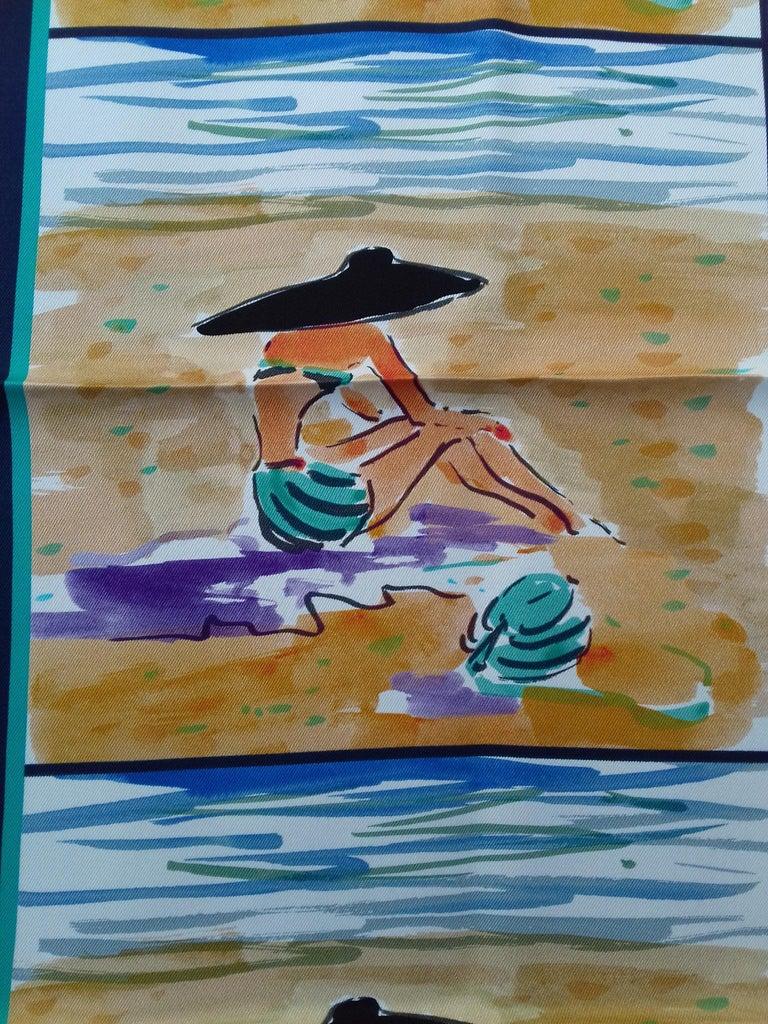 Women's Hermès Silk Scarf Bain de Mer Jean Louis Clerc 2016 68 cm For Sale