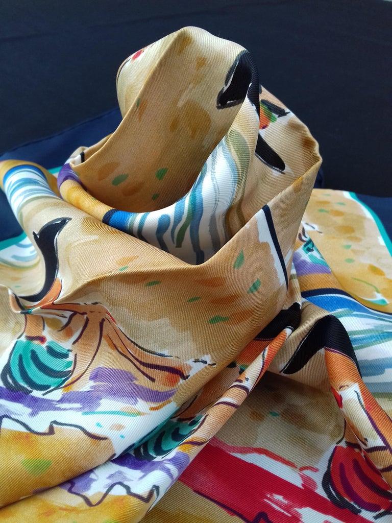 Hermès Silk Scarf Bain de Mer Jean Louis Clerc 2016 68 cm For Sale 6