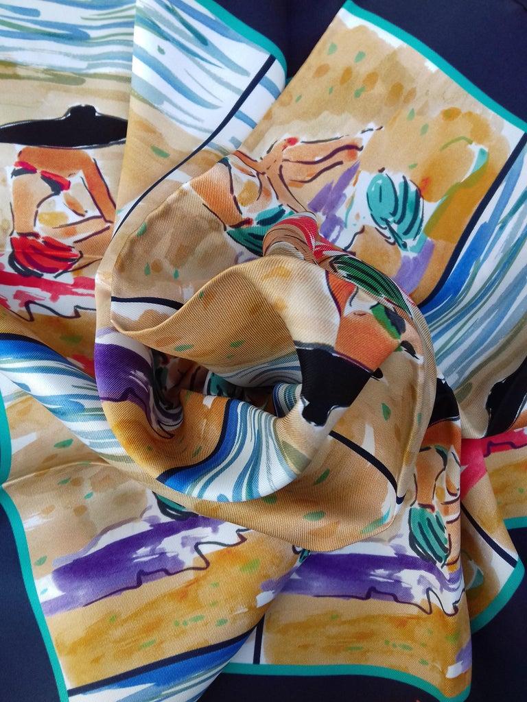 Hermès Silk Scarf Bain de Mer Jean Louis Clerc 2016 68 cm For Sale 4