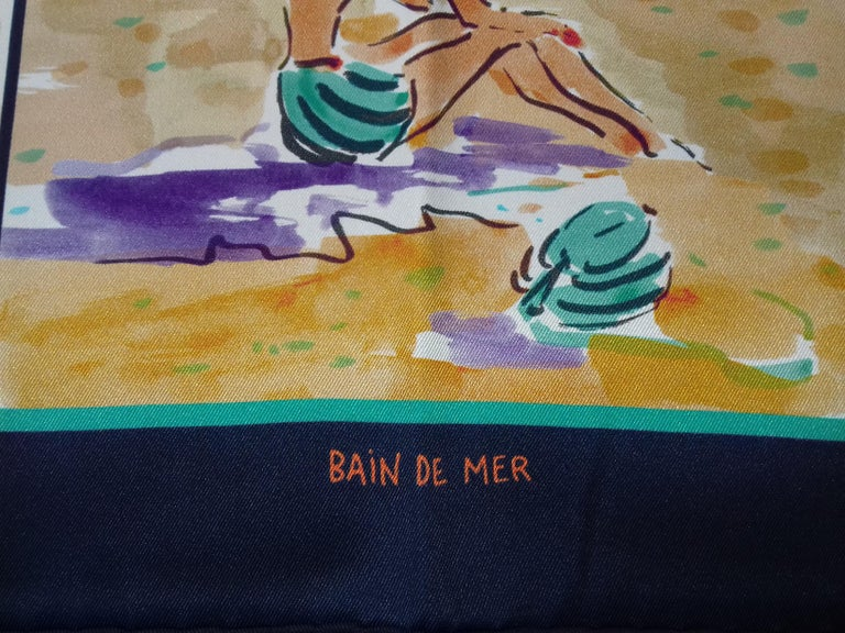 Gray Hermès Silk Scarf Bain de Mer Jean Louis Clerc 2016 68 cm For Sale