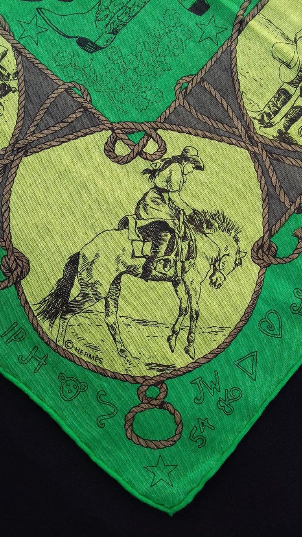 Hermès Cotton Charm Scarf Rodeo Des Cowgirls Kermit Oliver TEXAS 67 cm GRAIL For Sale 3