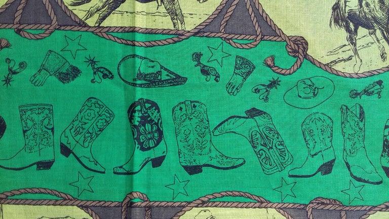 Hermès Cotton Charm Scarf Rodeo Des Cowgirls Kermit Oliver TEXAS 67 cm GRAIL For Sale 10
