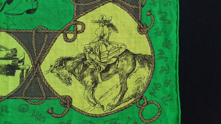 Women's Hermès Cotton Charm Scarf Rodeo Des Cowgirls Kermit Oliver TEXAS 67 cm GRAIL For Sale