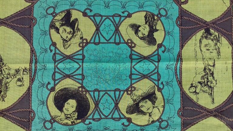 Hermès Cotton Charm Scarf Rodeo Des Cowgirls Kermit Oliver TEXAS 67 cm GRAIL For Sale 2