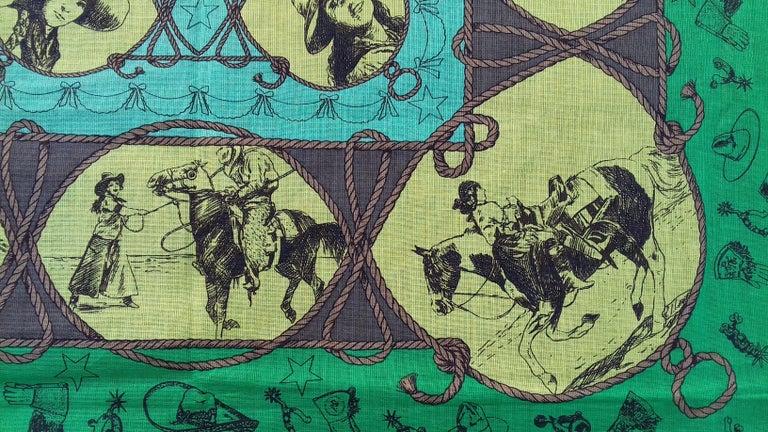 Hermès Cotton Charm Scarf Rodeo Des Cowgirls Kermit Oliver TEXAS 67 cm GRAIL For Sale 9