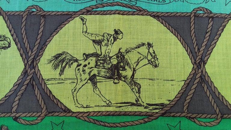 Hermès Cotton Charm Scarf Rodeo Des Cowgirls Kermit Oliver TEXAS 67 cm GRAIL For Sale 12