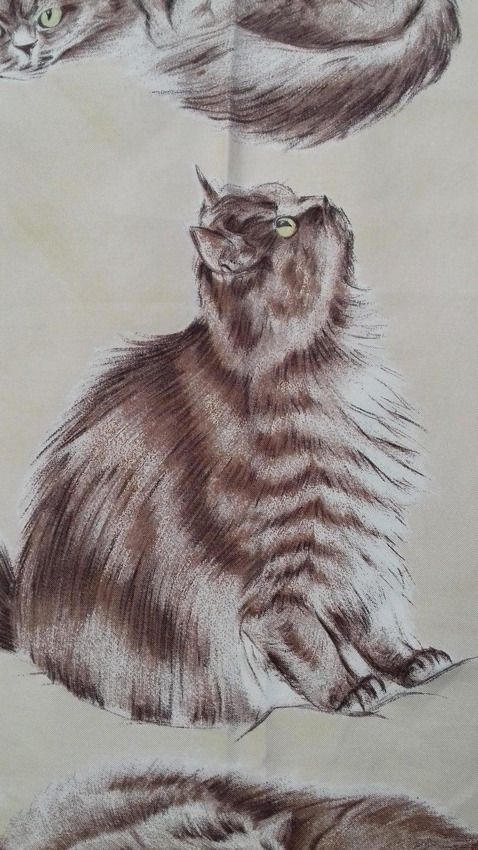 Women's or Men's Hermès Vintage Silk Scarf Chats Persans Persian Cats De Poret 1956 Rare GRAIL  For Sale