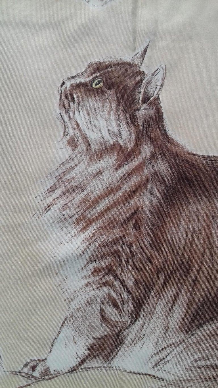 Hermès Vintage Silk Scarf Chats Persans Persian Cats De Poret 1956 Rare GRAIL  For Sale 1