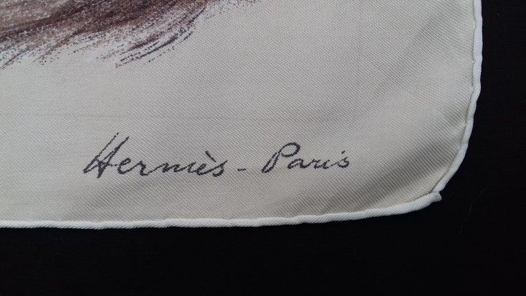 Gray Hermès Vintage Silk Scarf Chats Persans Persian Cats De Poret 1956 Rare GRAIL  For Sale