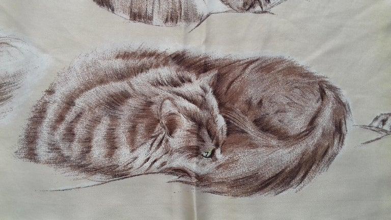 Hermès Vintage Silk Scarf Chats Persans Persian Cats De Poret 1956 Rare GRAIL  For Sale 2