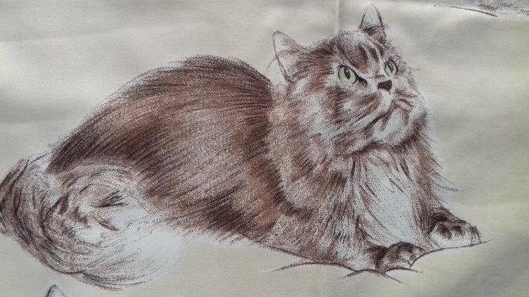 Hermès Vintage Silk Scarf Chats Persans Persian Cats De Poret 1956 Rare GRAIL  For Sale 3