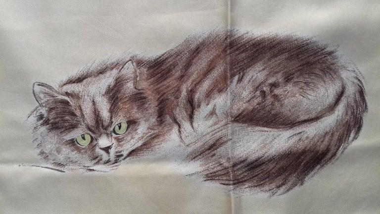 Hermès Vintage Silk Scarf Chats Persans Persian Cats De Poret 1956 Rare GRAIL  For Sale 4