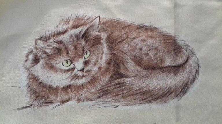 Hermès Vintage Silk Scarf Chats Persans Persian Cats De Poret 1956 Rare GRAIL  For Sale 5