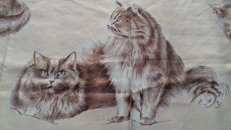 Hermès Vintage Silk Scarf Chats Persans Persian Cats De Poret 1956 Rare GRAIL  For Sale 6