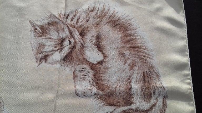 Hermès Vintage Silk Scarf Chats Persans Persian Cats De Poret 1956 Rare GRAIL  For Sale 7