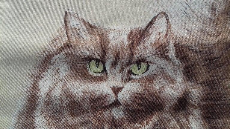 Hermès Vintage Silk Scarf Chats Persans Persian Cats De Poret 1956 Rare GRAIL  For Sale 8