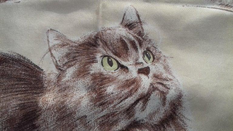 Hermès Vintage Silk Scarf Chats Persans Persian Cats De Poret 1956 Rare GRAIL  For Sale 9