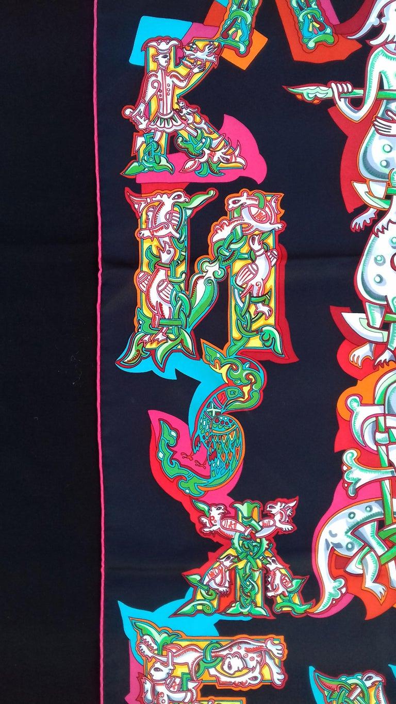 Hermès Silk Scarf ALPHABET RUSSE Evgenia Miroshnichenko Rare in Black 90 cm For Sale 2