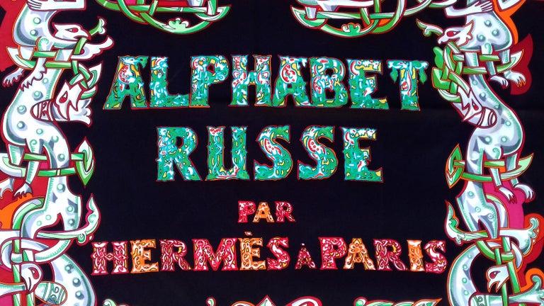 Hermès Silk Scarf ALPHABET RUSSE Evgenia Miroshnichenko Rare in Black 90 cm For Sale 1