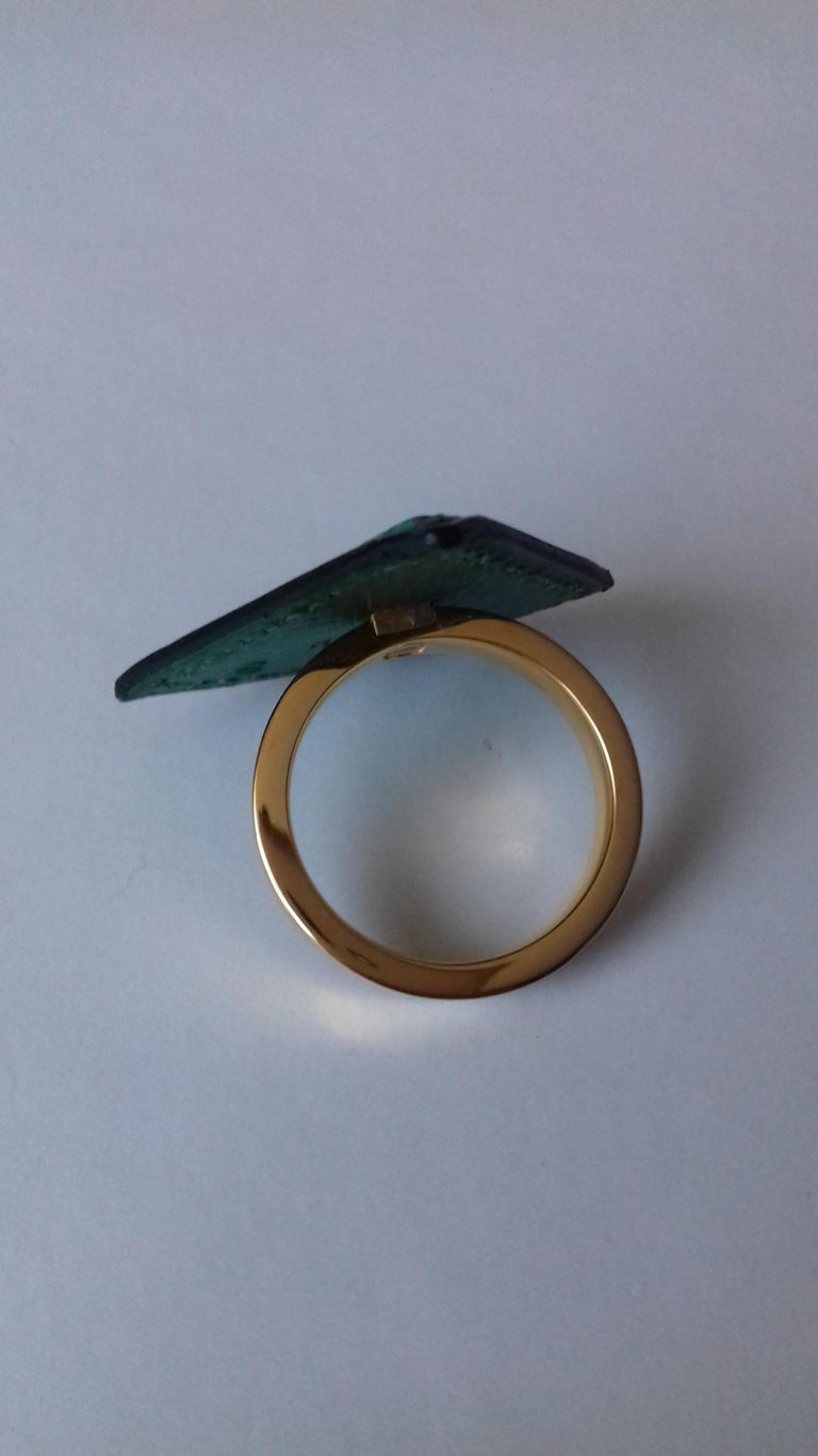 Black Hermès Ring Scarf of Jewel Ring in Green Courchevel Leather Golden Hdw RARE For Sale