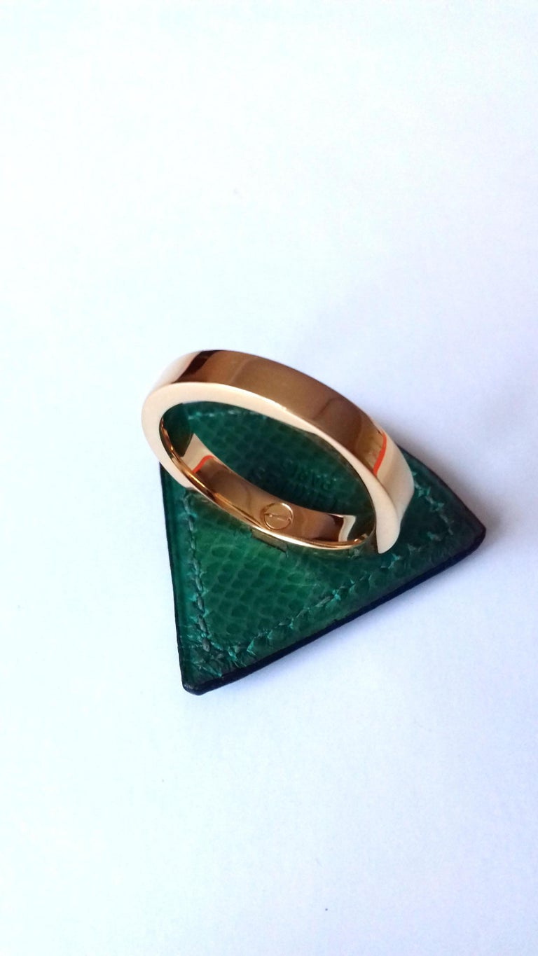 Hermès Ring Scarf of Jewel Ring in Green Courchevel Leather Golden Hdw RARE For Sale 5