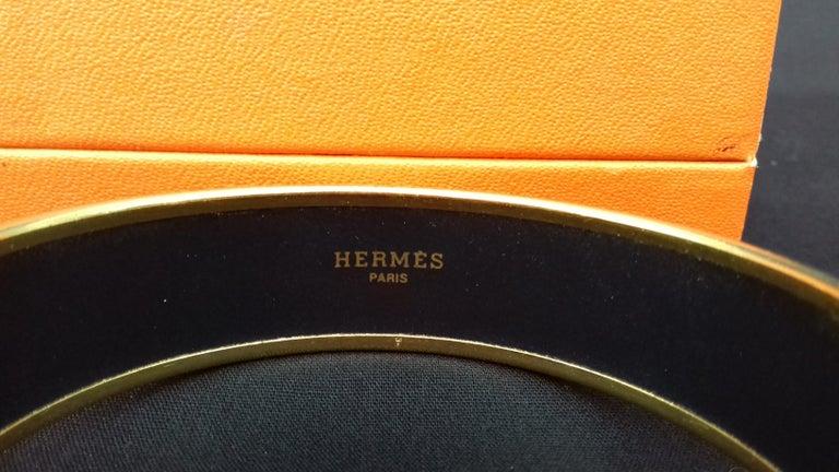 Hermès Enamel Printed Bracelet Elephants Grazing Red Ghw Size GM RARE For Sale 6